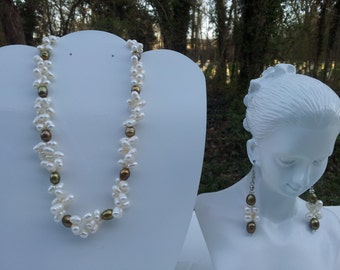 Handmade necklace with real fresh water pearl  # 00N24