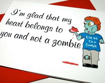 Instant Printable Digital Download Romantic Zombie Card
