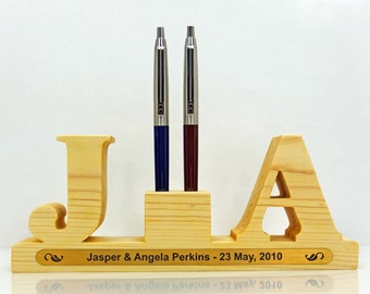 Wedding Pen Holder. Personalized with 2 letters (initials) for 2 pens. Great Wedding Gift or Wedding Anniversary Gift. Wedding Accessories.