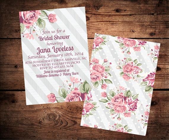 Shabby Chic Bridal Shower Invitation Vintage Roses
