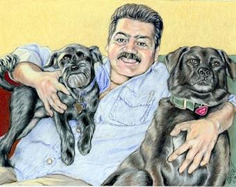 "5"" x 7"" Double Custom Pet Portrait"
