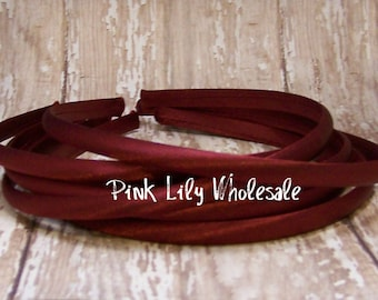 FOUR Burgundy Satin Covered Headband - Headband Blank - Satin Headband - Plain Headband - Plastic Headband - Wholesale - DIY - Craft