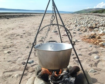 Cooking, camping tripod. Campfire, scouts, outdoors, holiday, beach.