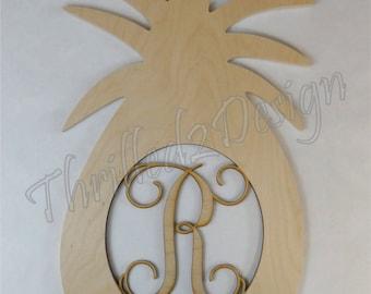 Pineapple wooden shape with Monogram Insert - Door Hanger, Home Decoration, Wreath