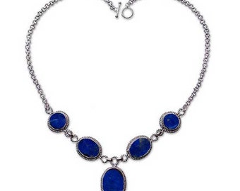 terling Silver and Lapis Lazuli Victorian Semicollar