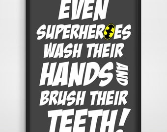 Superhero, Superheroes, Superhero Wall Art, Kids Poster, Kids Art Print, Superhero Art Print, Bathroom Decor, Kids Wall Art.