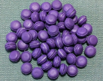 20 Miniature Macaroons Clay Polymer Purple Cookies Cakes Biscuits Macaron Cute Little Small Dollhouse Bakery Fimo Food Jewelry Supplies 1/12
