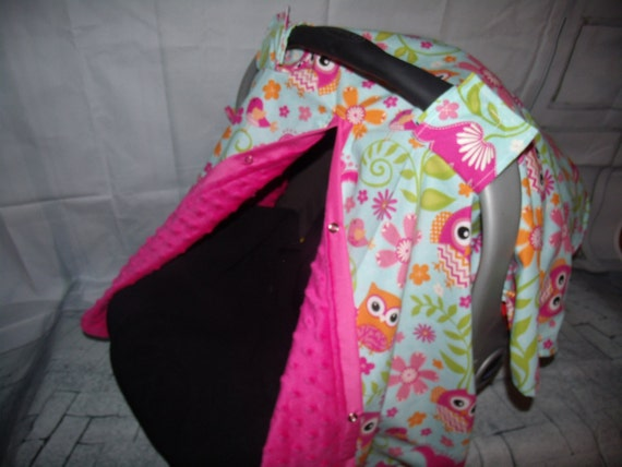 Like this item? & Carseat Canopy Minky Owl Blanket Cover Open front or Closed