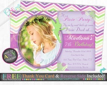 Fairy/ Pixie Photo Invitation: DIY Printing Digital File FREE Thank You Card and Backside with Purchase!