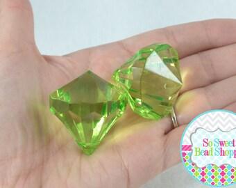 HUGE Acrylic Diamond Pendants, 2ct, Light Green, 30mmx35mm