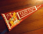 Vintage Pennant: Canada - Flin Flon, North of 54. Psychedlic mountie, like-new condition!
