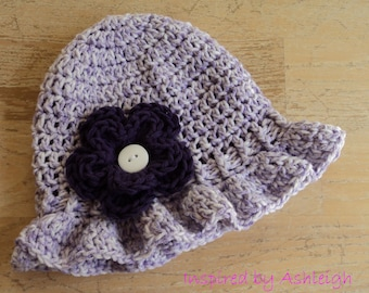 Summer Baby Girl Sun Hat in Lavender and White with Flower Sizes Newborn,0,2,3,6,9,12 months Made to Order
