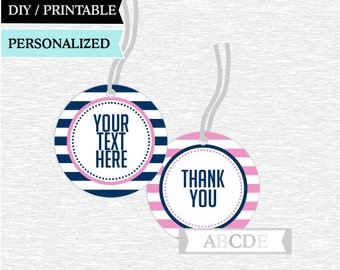 Personalized Pink and Navy Thank You tags Nautical Birthday party Baby shower DIY Printable