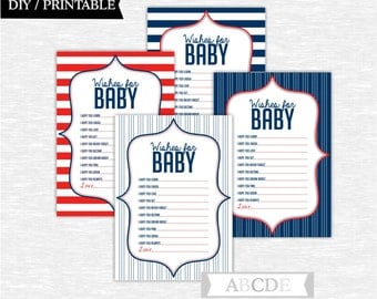 Instant Download Navy and Red Nautical Baby Shower Party Wishes for Baby cards Baby shower DIY Printable (PDN006)