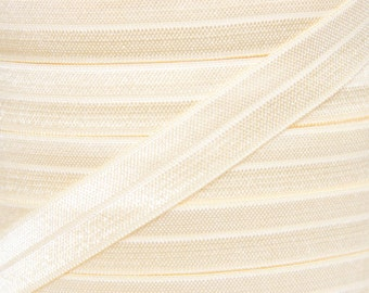 Ivory Fold Over Elastic - Elastic For Baby Headbands and Hair Ties - 5 Yards of 5/8 inch FOE
