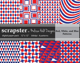 Red, White,and Blue Digital Patterns