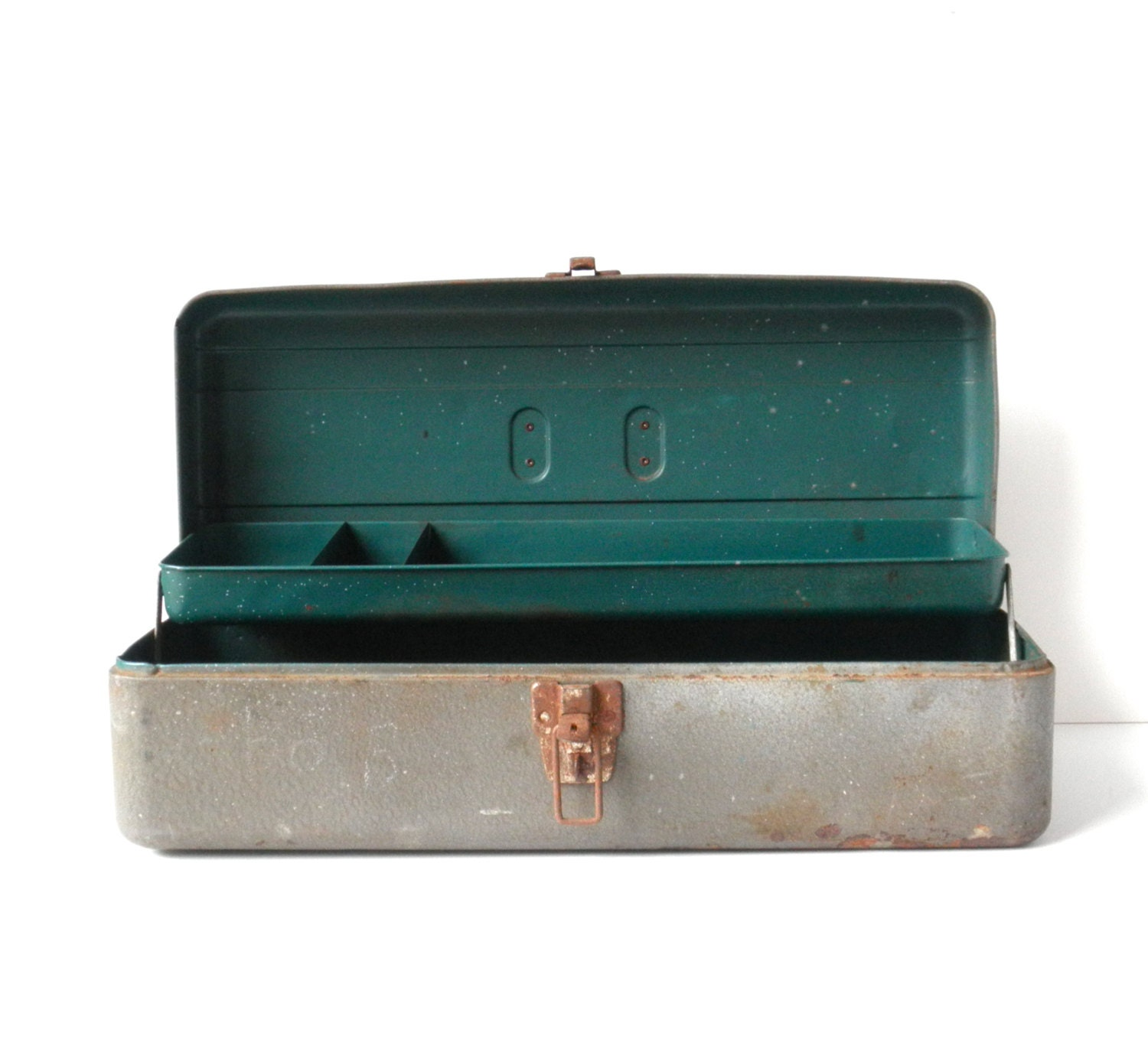 Vintage Matte Grey Metal Toolbox Storage Container Wedding