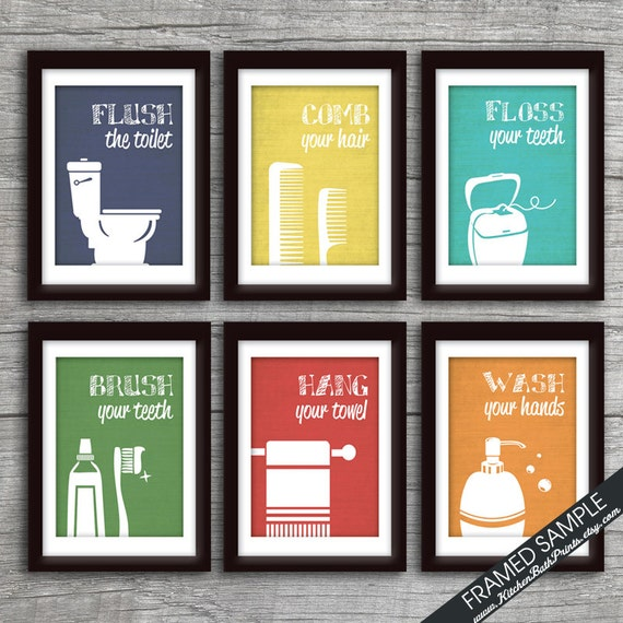 Bathroom Sign Prints Funny Set Of 6 Art Print Featured In
