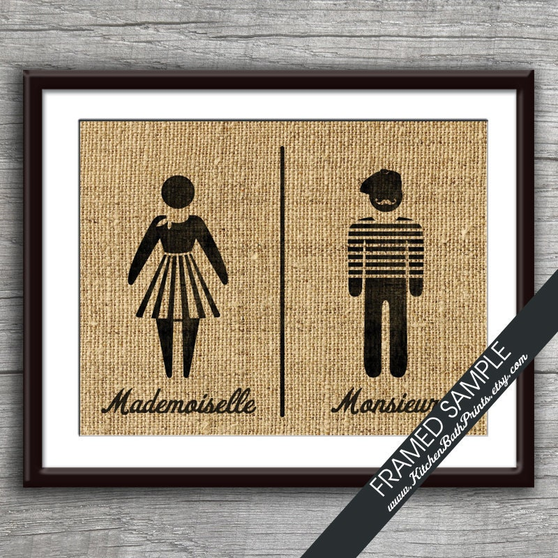 Bathroom Sign Art mademoiselle and monsieur art print featured in french