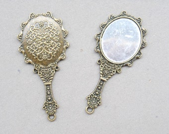 4pcs 43x70mm Antique Bronze mirror Charms tibetan style mirror pendant vintage mirror