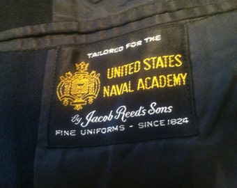 USNA navy wool dress jacket from 1961, Midshipman First Class, Jacob Reed's Sons tailored, beautiful wool, fully lined.