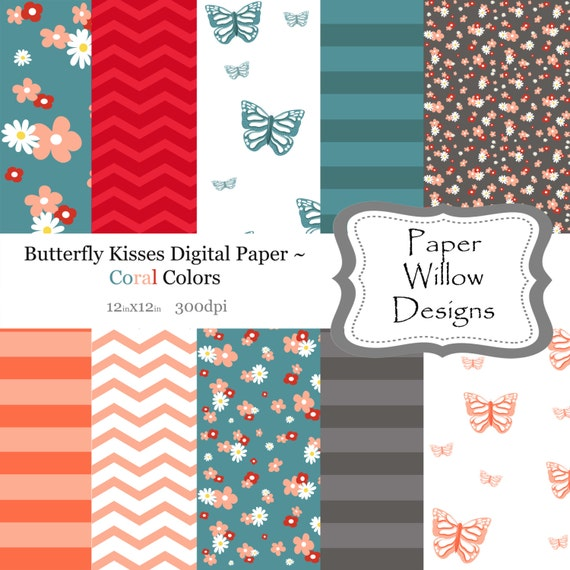 Butterfly Kisses Digital Paper ... (10) 12x12 sheets 300dpi ~ Instant Download, Floral, Chevron, Stripe, Peach, Grey, Aqua Blue, Butterflies