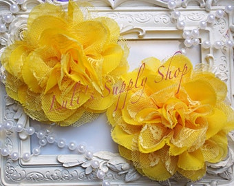 """Set of 2 - Yellow 3.75"""" Fabric flowers - Lace Flowers - shredded lace flower - chiffon flower - lace rose - Wholesale DIY Supplies"""