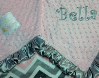 FREE SHIPPING Personalized Baby Blanket with Baby Pink, Silver, Grey and Charcoal Chevron Zig Zags