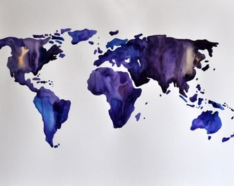 ORIGINAL Abstract World Map Painting, Large Watercolor Painting in Royal Purple And Cobalt Blue 22x30 Inch