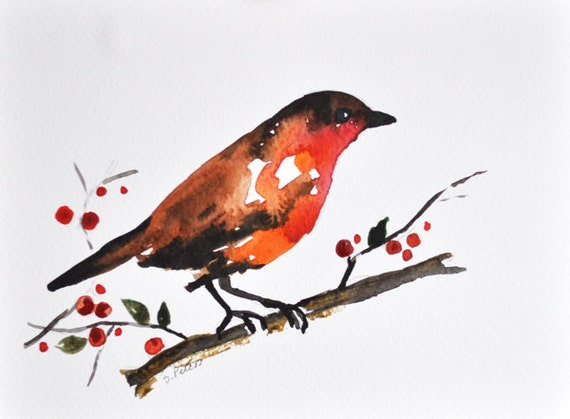 ORIGINAL Watercolor bird painting - Robin and berries 6x8 inch