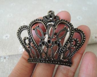 2Pcs  48x58mm large  Antique Bronze  Crown charm  (A227)