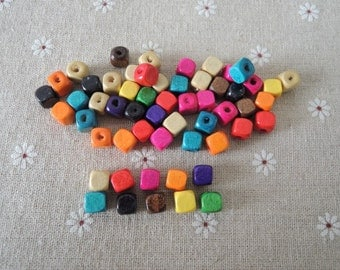 150 Pcs7x7mm Mixed Color  Square Wood Bead    (W729)