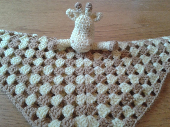 Crochet Pattern Giraffe Blanket : Giraffe Baby Security Blanket Lovey Comforter Blankie Lovie
