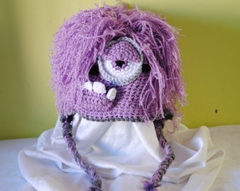Amigurumi Earflap Hat : Purple Minion Hat, Amigurumi, crochet Despicable Me Hat ...