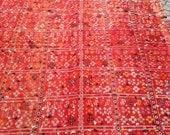 "Rare Vintage 2 PartsTurkish Kilim Rug, Decorative Red Thin Kilim Rug, Handwoven Wool Kilim Rug 116.14"" x 73.62  inch  FREE SHIPPING"
