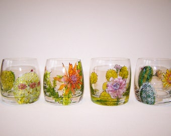 Set of 4 Botanical Cactus Bar Glasses