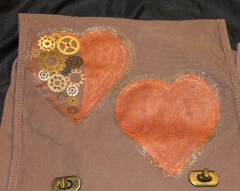 Two hearts steam punk purse / messenger bag