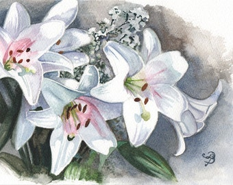 White Lilies, ORIGINAL watercolor painting, FREE shipping