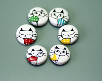 Cute Cat Covered Buttons ~ Fabric Buttons ~ Kitty Buttons ~ Craft Buttons ~ Japanese Buttons (Set of 6) ~ 22mm (0.87 inch)