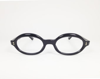 Vintage 60s Eyeglasses | 1960s Swank Black Oval Horn-Rimmed Glasses | NOS Eyeglass Frame | Deadstock Eyewear