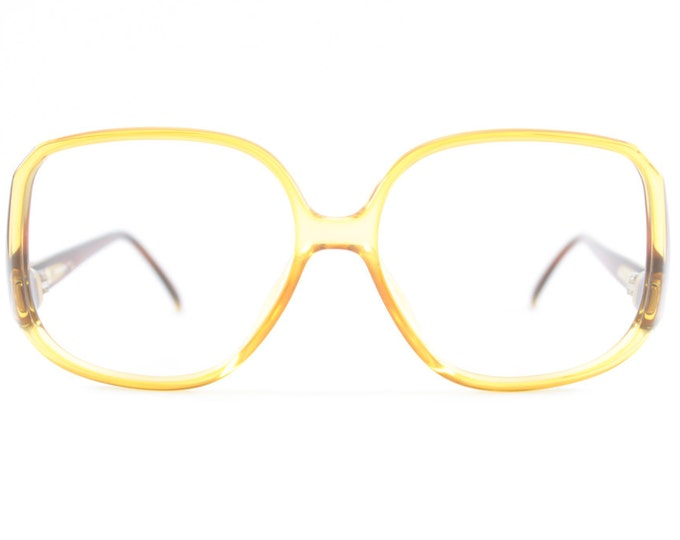 Vintage 80s Eyeglass Frame | NOS Clear Amber Glasses | Retro 1980s Oversized Eyeglasses  - 1289