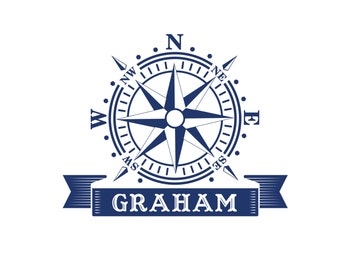 Compass Rose Decal NURSERY PERSONALIZED Monogram Removable Wall Vinyl Nautical Theme Baby Crib up to 28x28 in