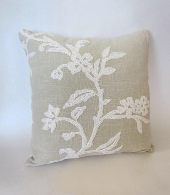 Light Green Decorative Pillow : Light Green Floral Hand Embroidered Decorative Pillow