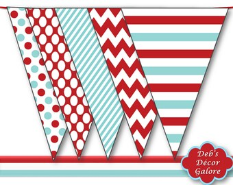 Red and Aqua Bunting Party Flags