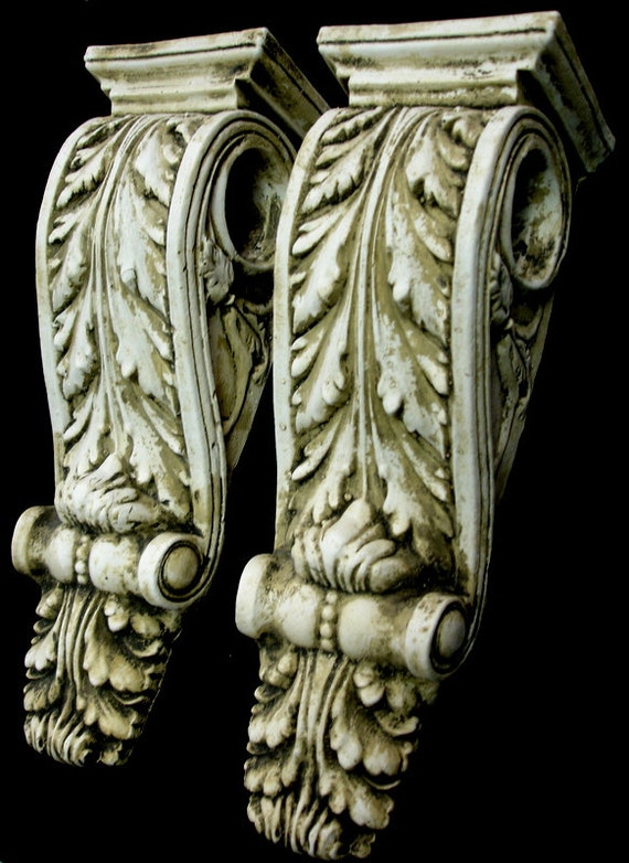 Wall Decor Shelves Sconces : Antique finish shelf acanthus leaf plaster wall corbel sconce