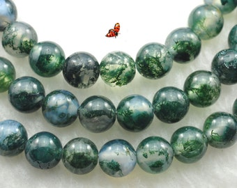Natural moss agate smooth round beads 6mm,62 pcs
