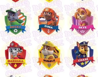 Paw Patrol Shield Edible Icing Cupcake Decor Toppers - PP2