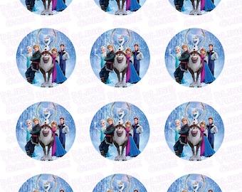 Disney Frozen Inspired Edible Icing Cupcake Decor Toppers - DF7