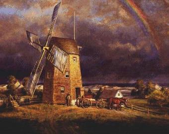 Old Hook Mill, East Hampton PDF Cross Stitch Pattern