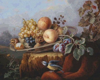 Still Life with Fruit and a Bird, Set Against a Landscape PDF Cross Stitch Pattern
